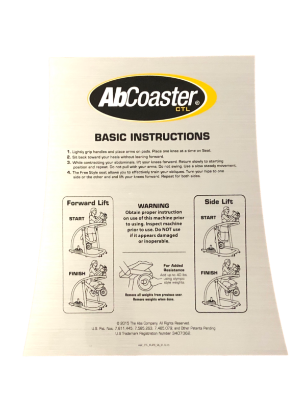 Ab Coaster CTL ABS Model Instruction Decal