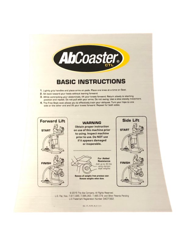 Ab Coaster CTL Instruction Decal ABS9020011